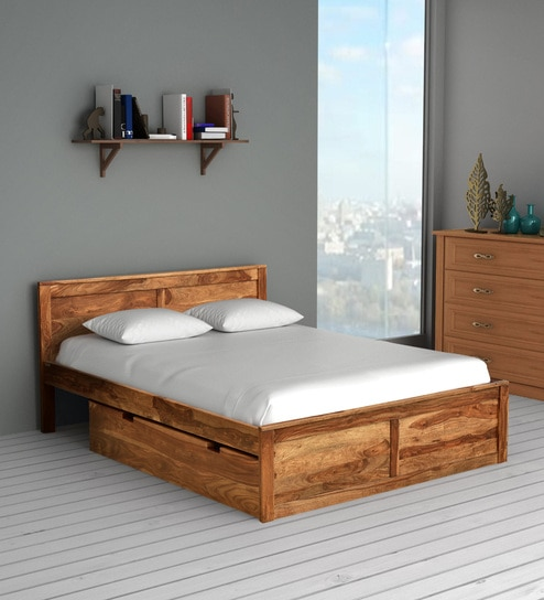 Oriel Solid Wood King Size Bed With Two Drawer Storage In Rustic Teak Finish By Woodsworth