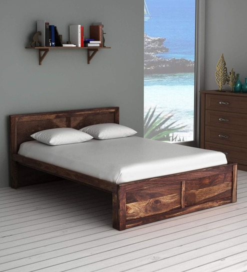 Buy Oriel Solid Wood Queen Size Bed In Provincial Teak Finish By