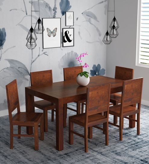 Buy Oriel Solid Wood Six Seater Dining Set In Honey Oak Finish By Woodsworth Online