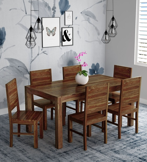 c4a24edc7 Buy Oriel Solid Wood Six Seater Dining Set in Provincial Teak Finish by  Woodsworth Online - Six Seater Dining Sets - Dining - Furniture - Pepperfry  Product