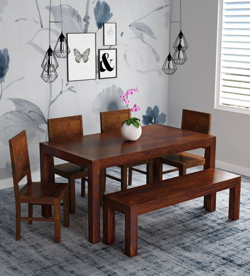 6c907f887f28 Buy Oriel Solid Wood Six Seater Dining Set with Bench in Honey oak Finish  by Woodsworth Online - Six Seater Dining Sets - Dining - Furniture -  Pepperfry ...