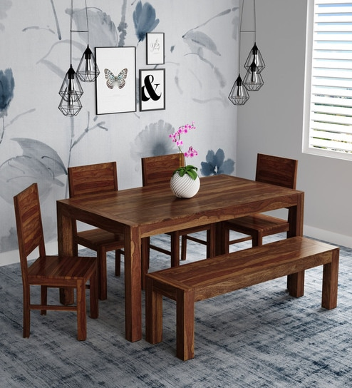 e008dea27822 Buy Oriel Solid Wood Six Seater Dining Set with Bench in Provincial Teak  Finish by Woodsworth Online - Six Seater Dining Sets - Dining - Furniture  ...