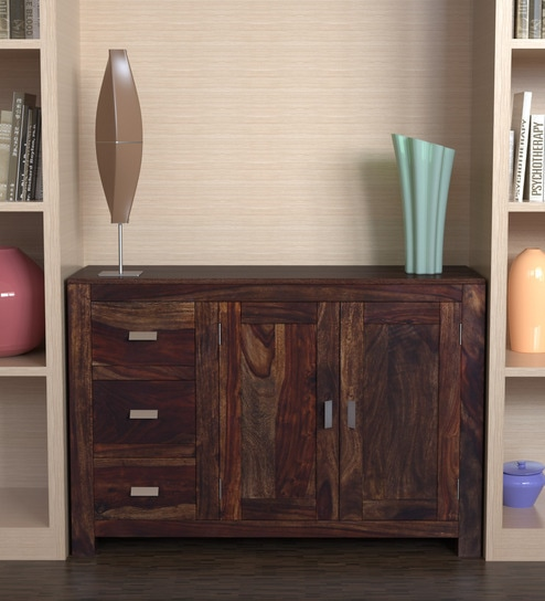 Buy Oriel Solid Wood Two Door Three Drawer Cabinet In Provincial Teak  Finish By Woodsworth Online   Contemporary Cabinets   Cabinets   Furniture    Pepperfry ...
