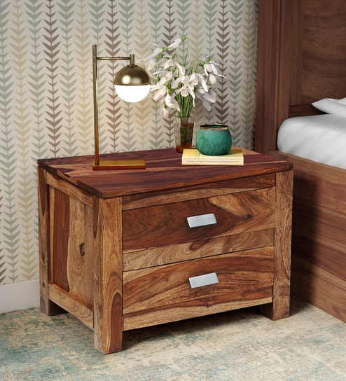 Teak Wood Side Table.Oriel Solid Wood Bedside Chest In Rustic Teak Finish By Woodsworth