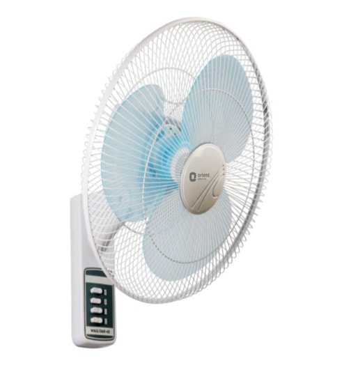 orient 400 mm white light blue wall fan