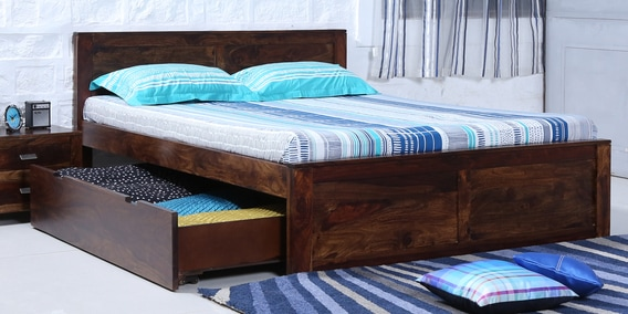 Double beds buy queen size double beds online best for Wooden divan bed with drawers