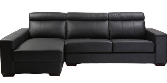 Orlando L Shape Leatherette Sofa With Left Side Lounger In Black Colour By Furny