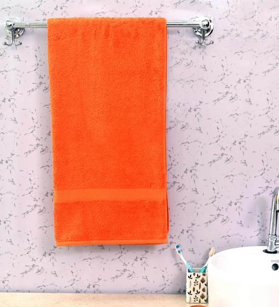 Buy Orange Cotton 650 GSM Bath Towel by Avi Living Online - Solid Colour  Bath Towels - Bath Towels - Furnishings - Pepperfry Product