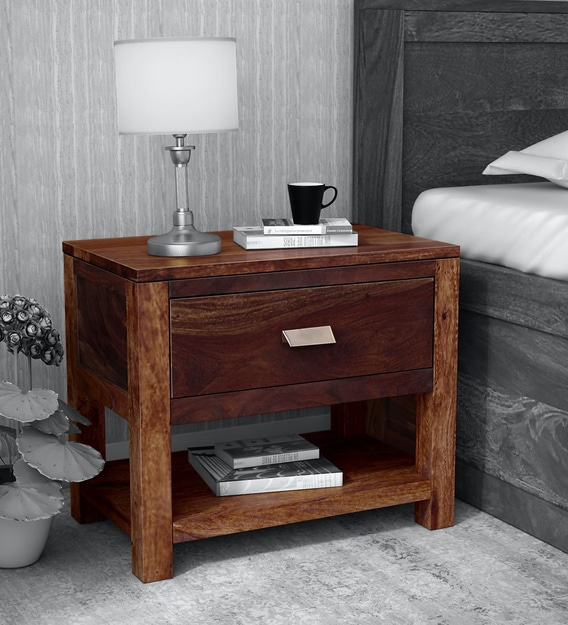 Buy Oriel Solid Wood Night Stand In Provincial Teak Finish By Woodsworth Online Modern Night Stands Tables Furniture Pepperfry Product