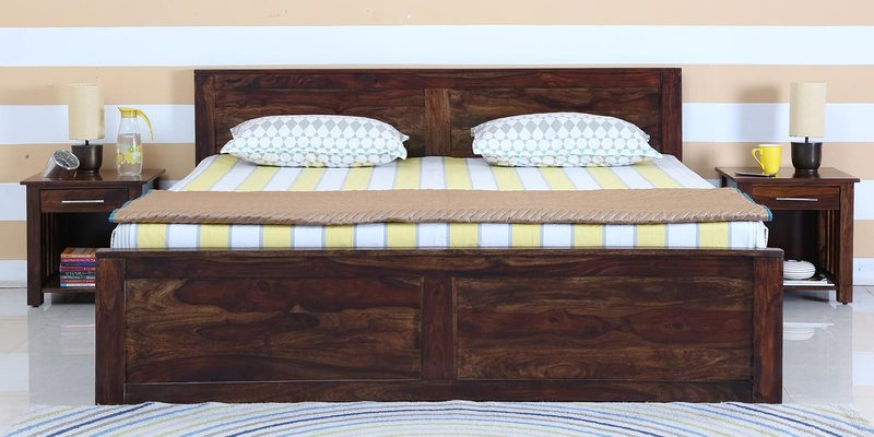 Oriel King Bed with Box Storage in Provincial Teak Finish by Woodsworth