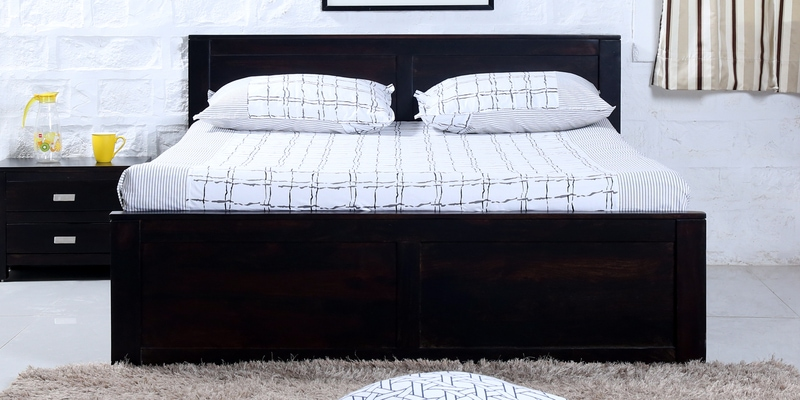 Oriel Solidwood King Bed with Two Drawer Storage in Warm Chestnut Finish by Woodsworth
