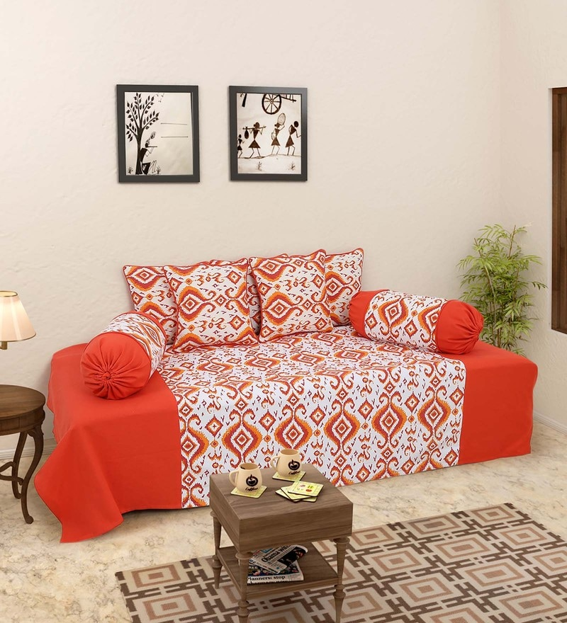 Orange 100% Cotton Diwan Set - Set of 8 by Soumya