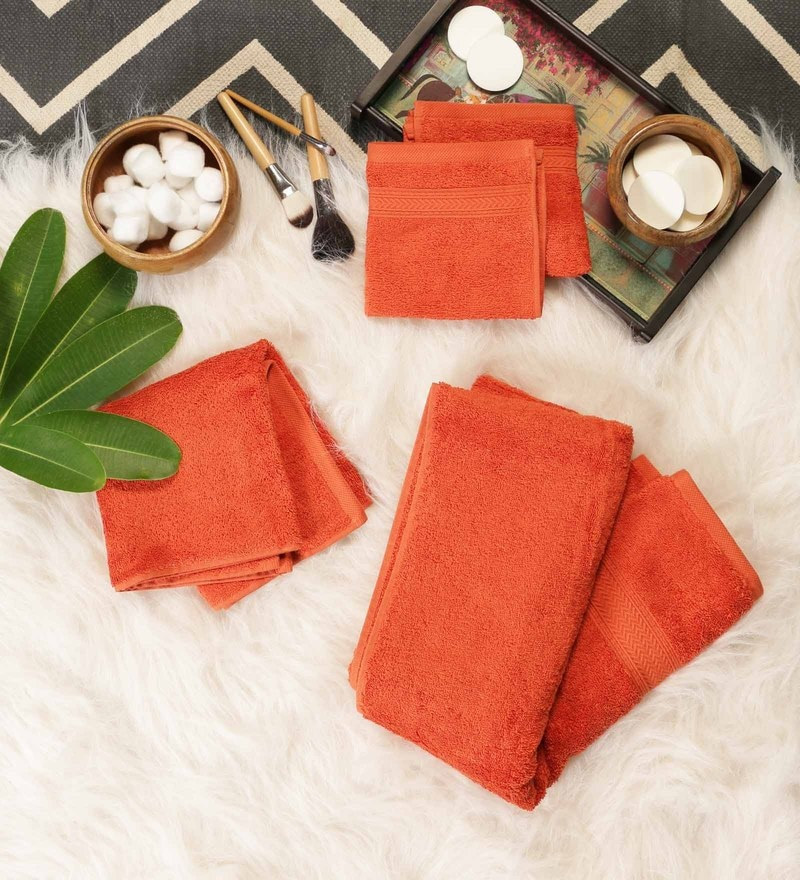 Orange Cotton Bath, Hand & Face Towel Set - Set Of 4 by SWHF