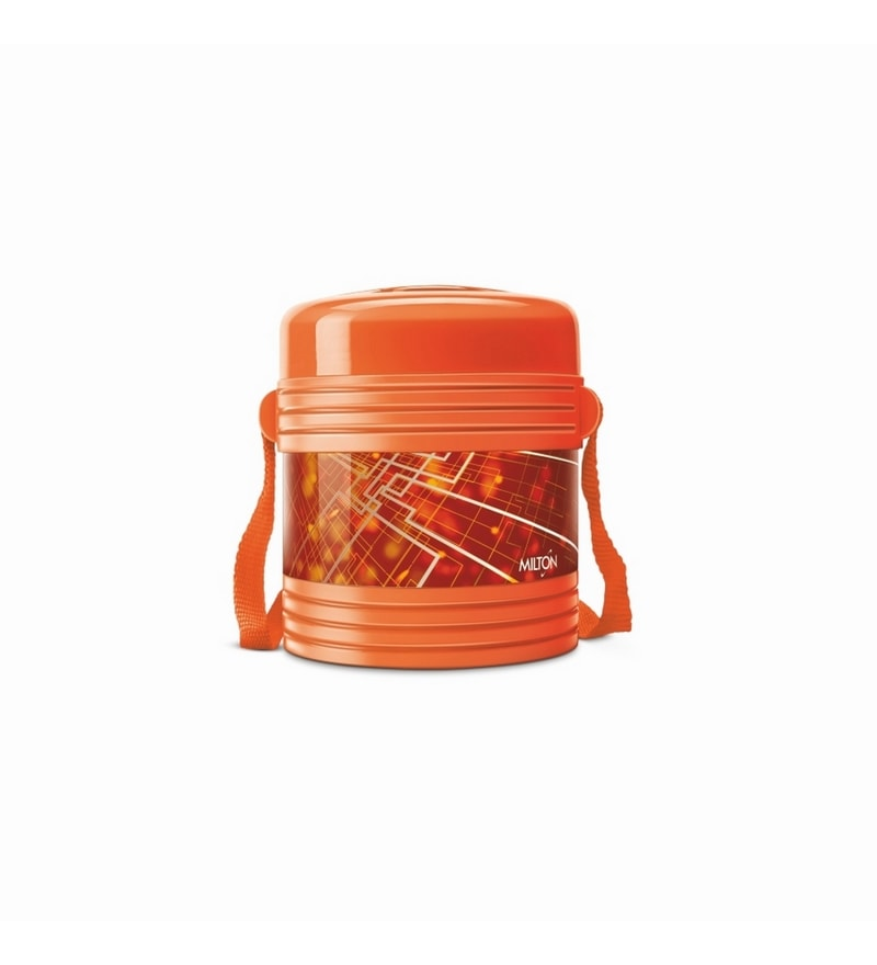 Orange Plastic & Stainless Steel Airtight Lunch Box with 2 Containers by Milton