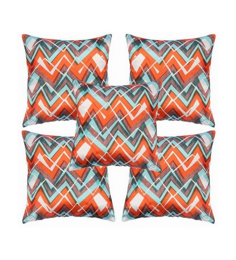 Orange Polyester 16x16 Inch Cushion Covers - Set of 5 by Dreamscape