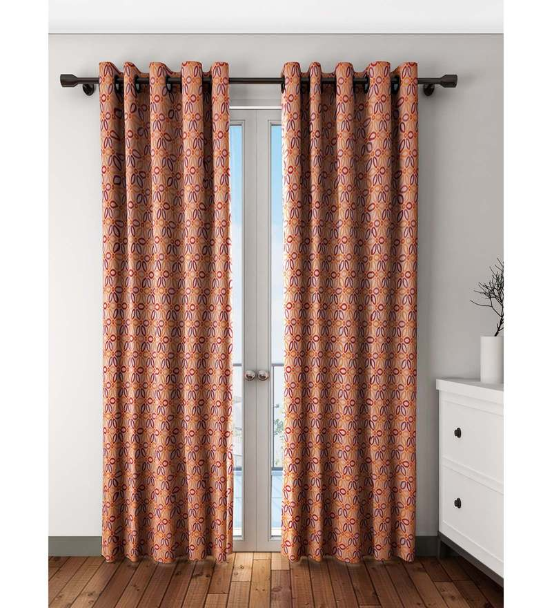 Orange Polyester Door Curtain by S9 Home by Seasons