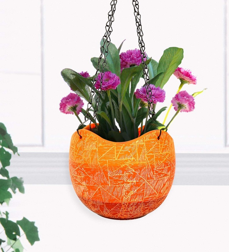 Orange Terracotta Hanging Wave Edge Planter by @Home