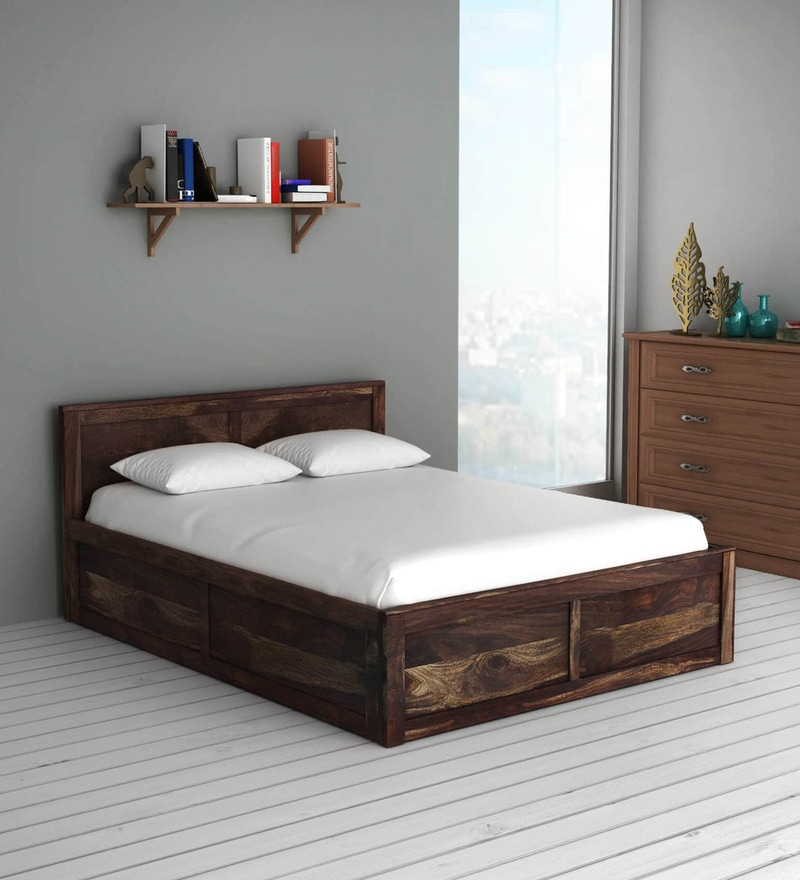 Buy Oriel Solid Wood King Size Bed With Box Storage In