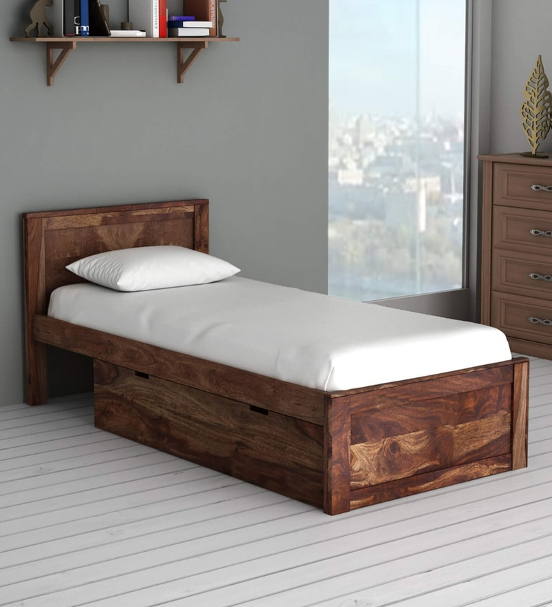buy oriel solid wood single bed with drawer storage in provincial teak finish by woodsworth. Black Bedroom Furniture Sets. Home Design Ideas