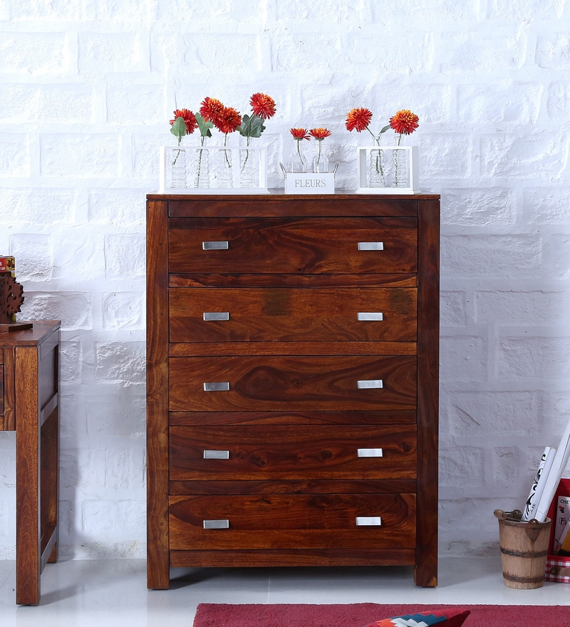 Oriel Chest of Five Drawers in Honey oak Finish by Woodsworth