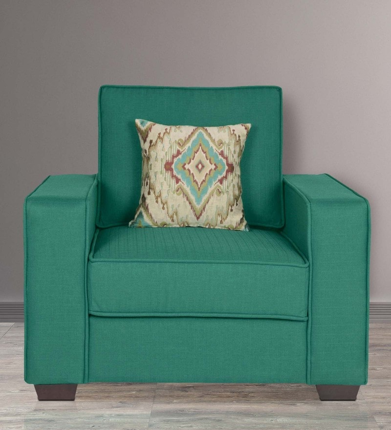 Oritz One Seater Sofa with Cushions in Jade Colour by CasaCraft