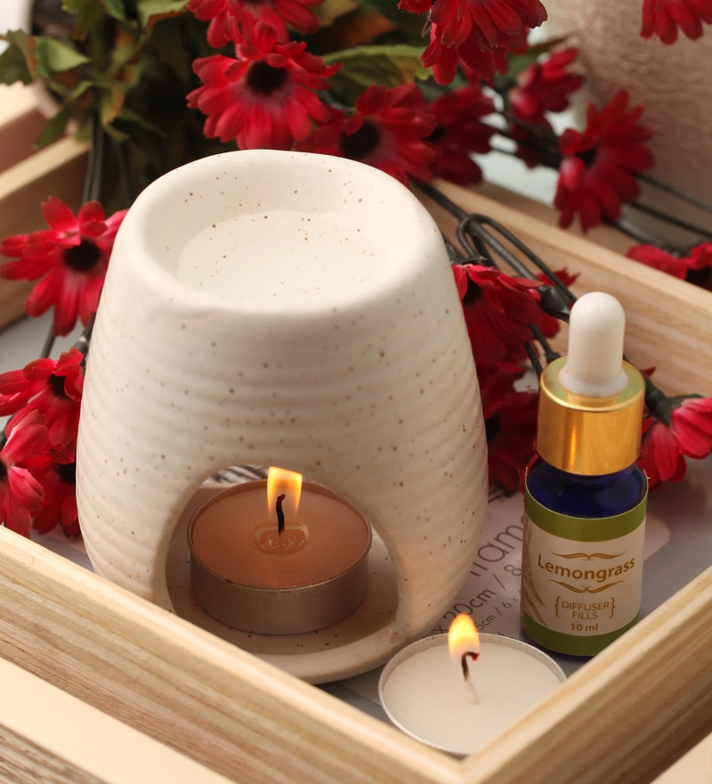 Candles White Clay Aroma Diffuser, Lemongrass Oil & 9 T Light Candles by Orlando's Decor