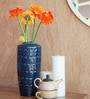 Orange Tree Blue Ceramic Bolus Etched Vase