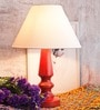 Scarlet Red & Off White Wood Table Lamp by Orange Tree