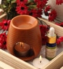 Candles Brown Clay Aroma Diffuser, Lemongrass Oil & 9 T Light Candles by Orlando's Decor