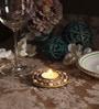 Orlando's Decor Gold Brass Rangoli Diya Tea Light Holder with Diamonds - Set of 2