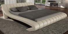 Oscar King Size Bed in Fab Light Cream Leatherette