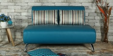 Oscar Two Seater Sofawith Cushions in Peacock Blue Colour
