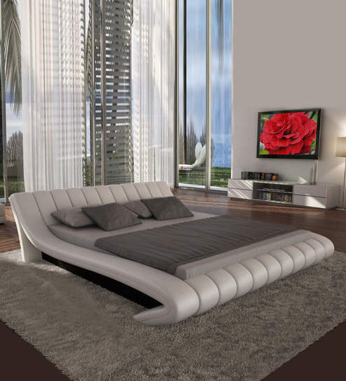 f8e57604d34 Buy Oscar King Size Bed in Fab Light Cream Leatherette by Dreamzz Furniture  Online - Modern King Sized Beds - Beds - Furniture - Pepperfry Product