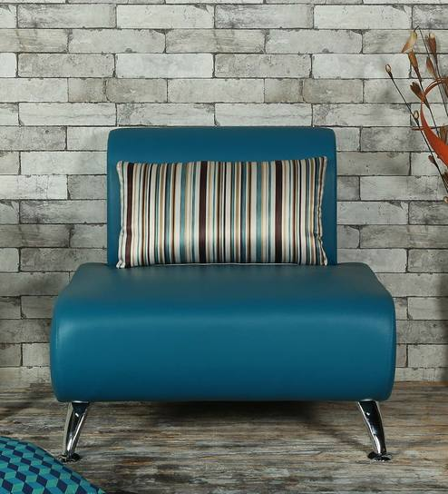 peacock blue furniture. Oscar One Seater Sofa With Cushion In Peacock Blue Colour By Furnitech Furniture 1