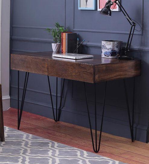 Oslo Study Laptop Table In Walnut Finish By The Armchair