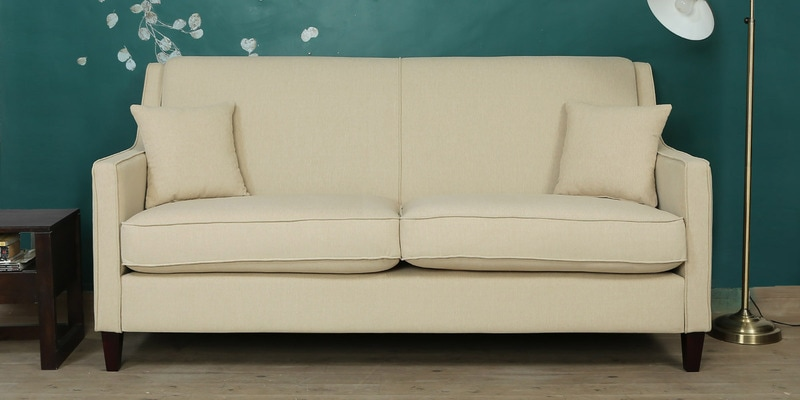 Oscar Three Seater Sofa in Beige Colour by CasaCraft