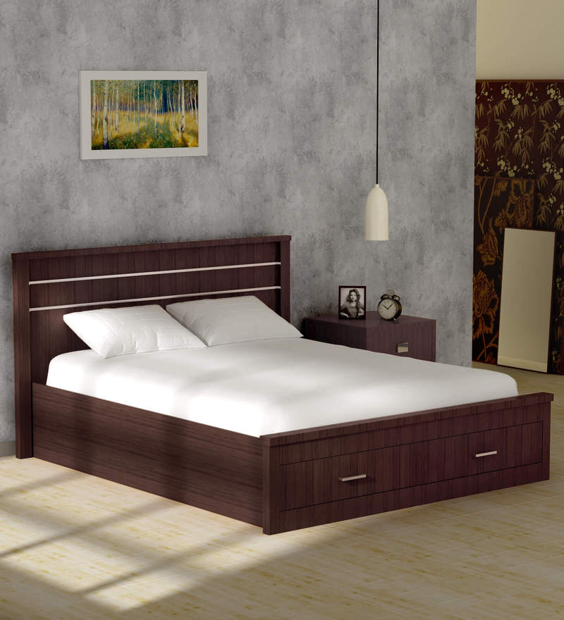 Buy Osen Queen Size Bed With Drawer Storage In New Oak Finish By