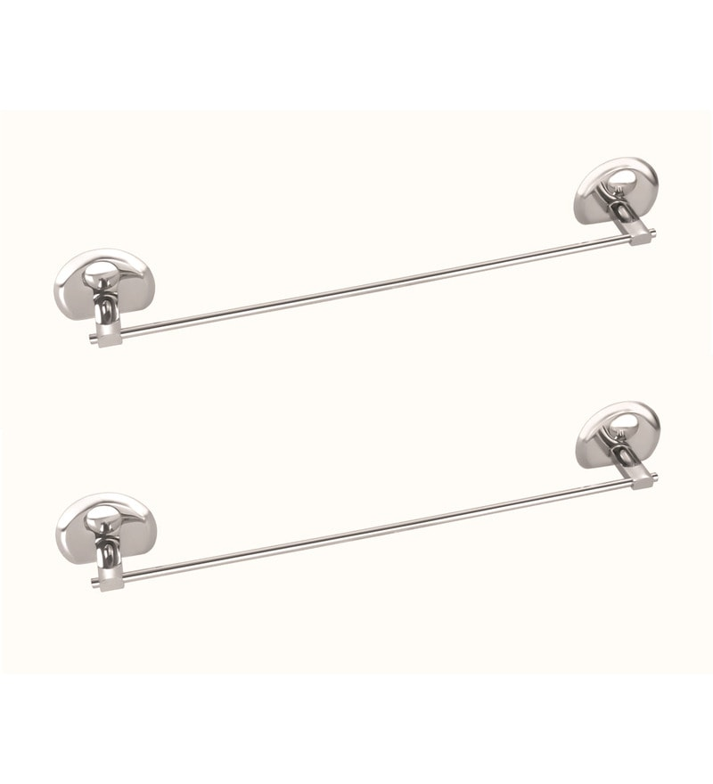 Osian Centro Series Glossy Silver Stainless Steel Towel Rod - Set of 2