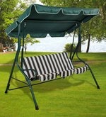 Outdoor Swing with Canopy in Green & White Colour