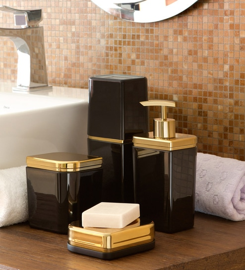 Ou Design Black   Gold Polystyrene Bathroom Kit   Set. Buy Ou Design Black and Gold Polystyrene Bathroom Kit   Set of 4
