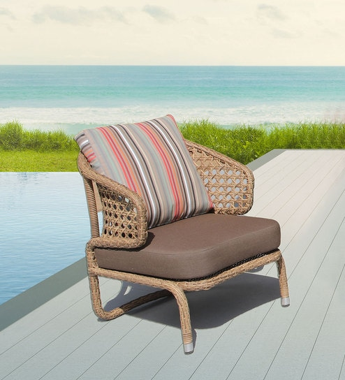 Skarpo Outdoor Sofa Chairs in Arabica Color with cushions by Gebe