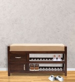 Oviodo Shoe Rack with Seat in Brown Colour
