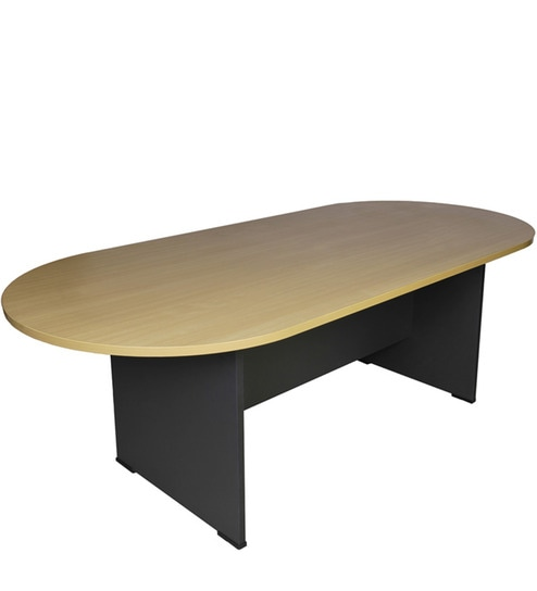 Buy Oval Conference Table In Beech Dark Grey Colour By Stellar - Grey conference table