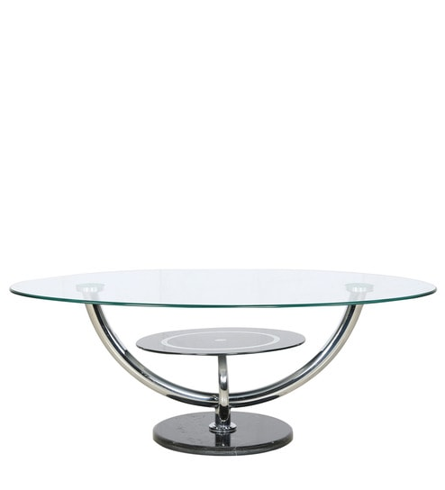 Buy Oval Shape Glass Table With Marble Base By Parin Online Oval