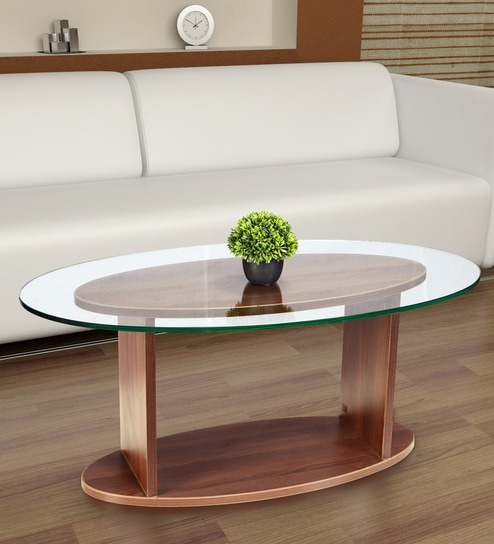 Buy Oval Shaped Glass Top Coffee Table In Walnut Finish By Addy