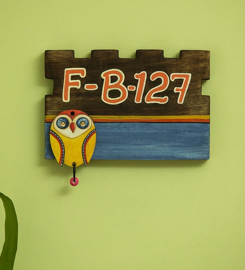 Owl Motif Customizable Wooden Address Plate (Handwritten Fonts) By  ExclusiveLane