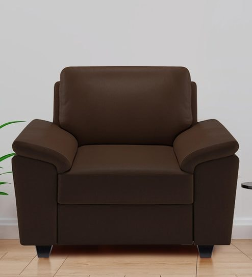 Oxford One Seater Sofa In Brown Leatherette By Adorn Homez