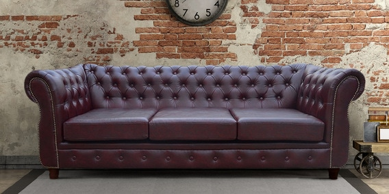Oxford 3 Seater Sofa In Dual Cherry