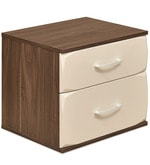 Ozone Two Drawer Night Stand in White & Walnut Colour