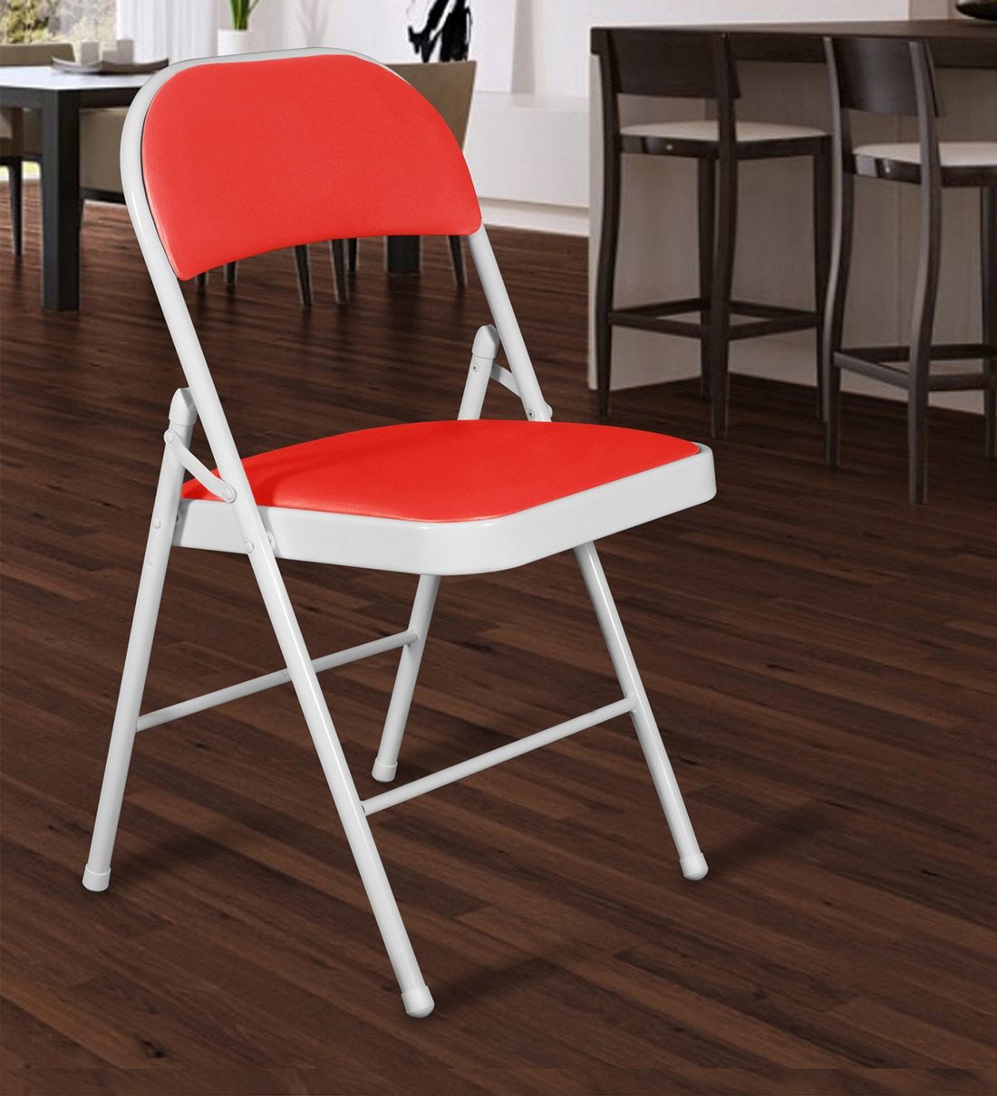 Buy Folding Metal Chair In White Red Colour By Story Home Online Metal Folding Chairs Chairs Furniture Pepperfry Product